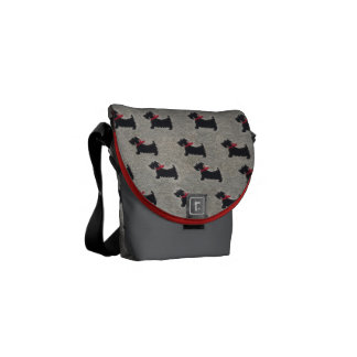 Terrier pattern small flapped bag