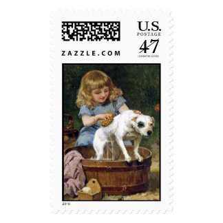 "Terrier Postage Stamp: ""Giving the Dog a Bath"""