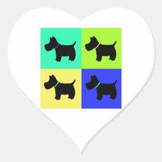 Terrier Print Heart Sticker