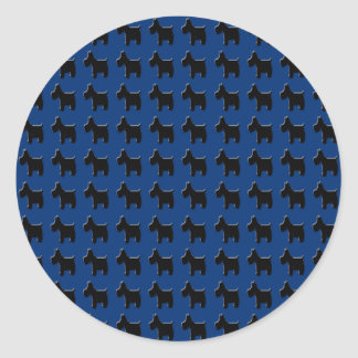 Terrier Prints with Midnight Blue Background Classic Round Sticker