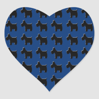Terrier Prints with Midnight Blue Background Heart Sticker