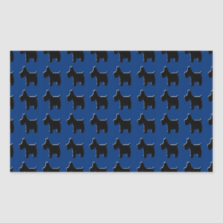 Terrier Prints with Midnight Blue Background Rectangular Sticker