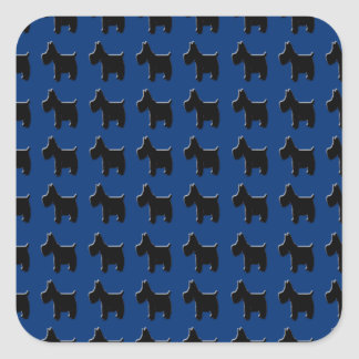 Terrier Prints with Midnight Blue Background Square Sticker