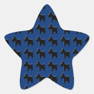 Terrier Prints with Midnight Blue Background Star Sticker