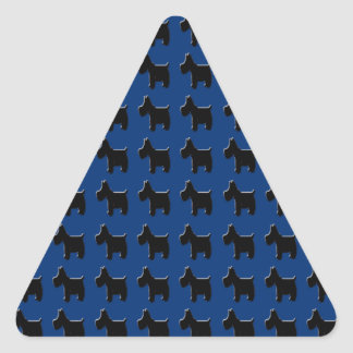 Terrier Prints with Midnight Blue Background Triangle Sticker