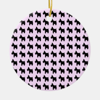 Terrier Prints with Purple Background Ceramic Ornament