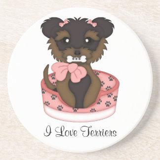 Terrier Pup (Girl) Drink Coaster