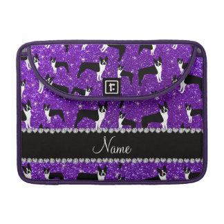 Terrier púrpura de Boston del brillo del añil Fundas Macbook Pro