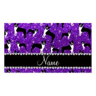 Terrier púrpura de Boston del brillo del añil Plantillas De Tarjetas De Visita