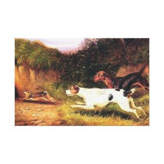Terrier que pinta la reproducción del vintage impresión en lienzo