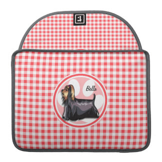 Terrier; Red and White Gingham Sleeve For MacBook Pro