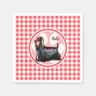 Terrier; Red and White Gingham Paper Napkin