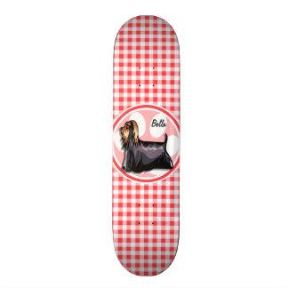 Terrier; Red and White Gingham Custom Skate Board