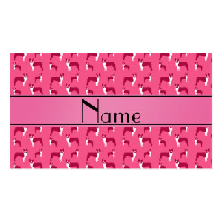 Terrier rosado conocido personalizado de Boston Tarjeta De Negocio