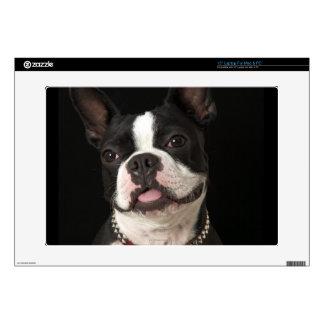 Terrier sonriente de Boston con el cuello Calcomanía Para 38,1cm Portátil