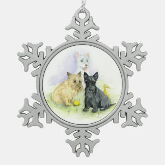 Terrier Trio plus a duck Snowflake Pewter Christmas Ornament
