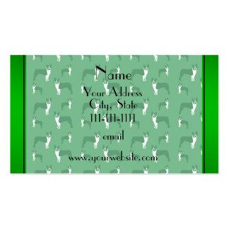 Terrier verde conocido personalizado de Boston Tarjetas De Visita