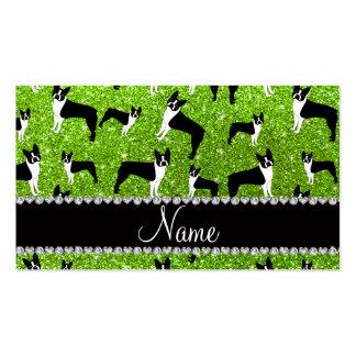 Terrier verde de neón conocido de encargo de tarjeta personal