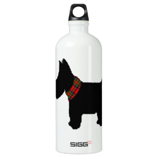 Terrier with a Red Tartan Check Collar Aluminum Water Bottle