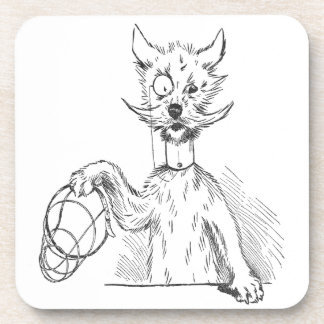 Terrier with Monocle and Muzzle Beverage Coaster