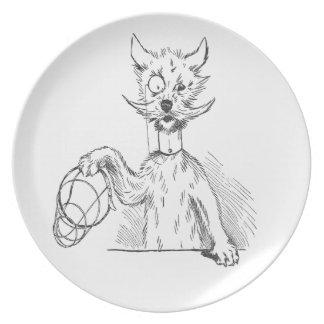 Terrier with Monocle and Muzzle Dinner Plate
