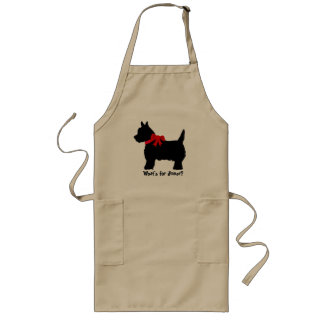 Terrier with red bow apron - What's for dinner?