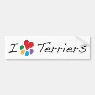 Terrieres animales del corazón de Lover_I Etiqueta De Parachoque