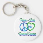 Terrieres de Boston del amor de la paz Llavero Personalizado