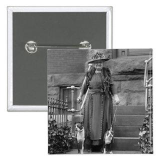 Terrieres de Boston y moda de los años 20 Pin Cuadrado