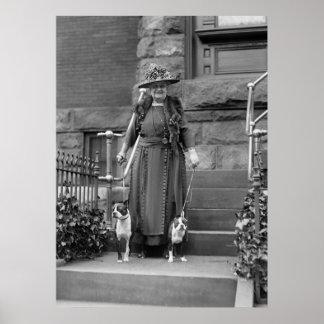 Terrieres de Boston y moda de los años 20 Póster