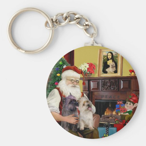 Terrieres de mojón de Santa en casa - (dos) Llavero