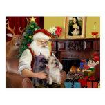 Terrieres de mojón de Santa en casa - (dos) Postal