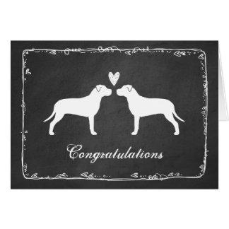 Terrieres de pitbull que casan enhorabuena tarjeta de felicitación