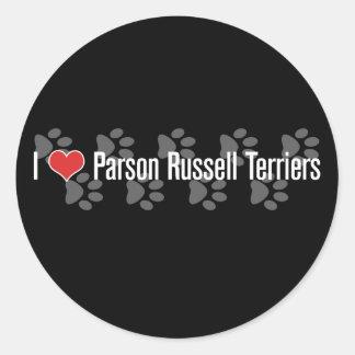 Terrieres de Russell del párroco I (del corazón) Pegatina Redonda