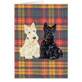 Terrieres escoceses de trigo y negros tarjeta de felicitación