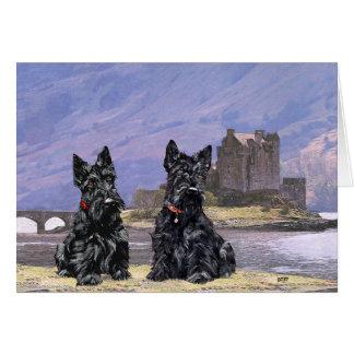 Terrieres escoceses que hacen turismo en Escocia Felicitación