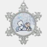 Terrieres Westie del navidad y ornamento de Yorkie Adorno De Peltre En Forma De Copo De Nieve
