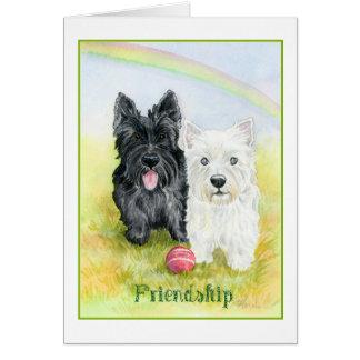 Terrieres y tarjeta de la amistad de los arco iris