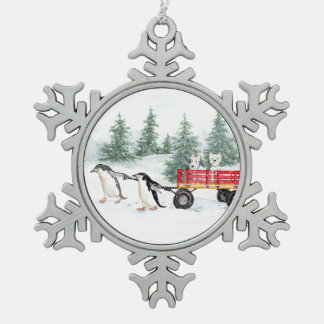 Terriers and Penguins Snowflake Pewter Christmas Ornament
