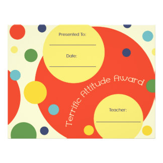 Terrific Attitude Classroom Award Certificate Letterhead