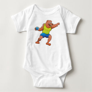 Terrific brown bear performing a discus throw baby bodysuit
