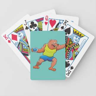 Terrific brown bear performing a discus throw bicycle playing cards