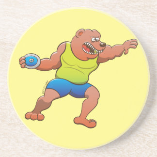 Terrific brown bear performing a discus throw drink coaster