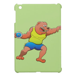 Terrific brown bear performing a discus throw iPad mini covers