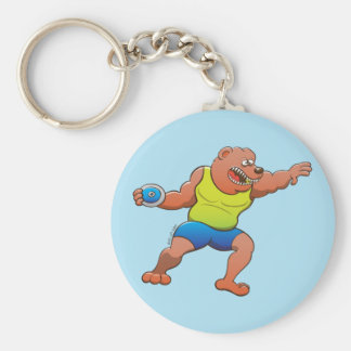 Terrific brown bear performing a discus throw keychain