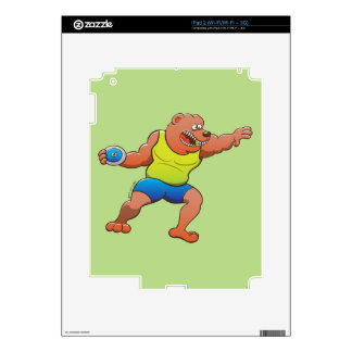 Terrific brown bear performing a discus throw skin for iPad 2