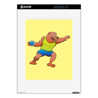 Terrific brown bear performing a discus throw skin for the iPad