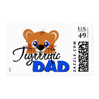 Terrific Dad Cute Tiger Postage Stamps