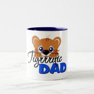 Terrific Dad Cute Tiger Two-Tone Coffee Mug