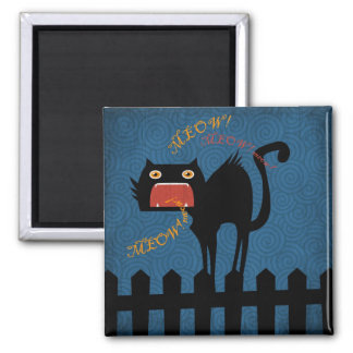 Terrified Black Cat on Halloween Night 2 Inch Square Magnet